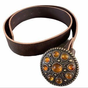 Italian Distressed Leather Belt Round Stone Buckle
